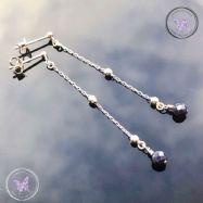 Blue Sapphire Long Silver Post Earrings